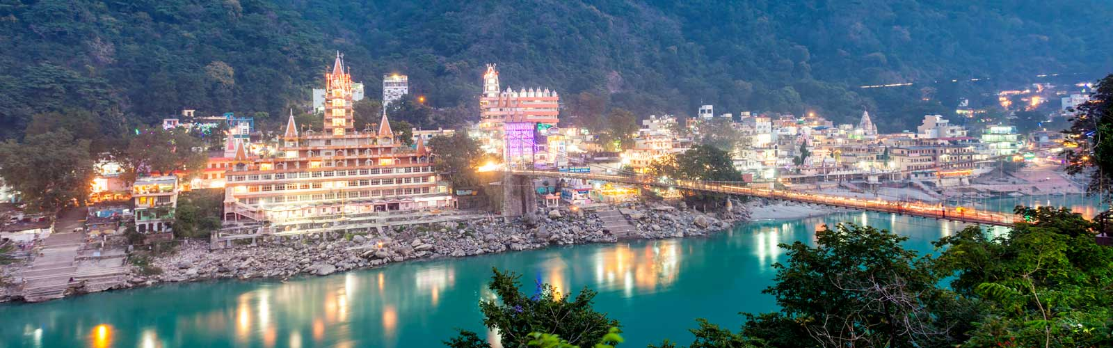Beautiful view of Laxman Jhula Rishikesh India